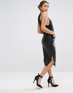 Полиуретановая юбка миди с карманами ASOS - Черный