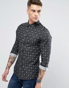 Черная джинсовая приталенная рубашка с принтом пейсли ASOS - Черный