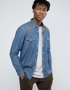 Джинсовая рубашка в стиле вестерн классического кроя с вышивкой на кокетке ASOS - Синий
