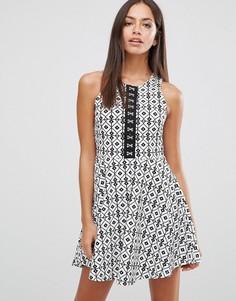 Платье с принтом в ромбик Wyldr Take It - Мульти