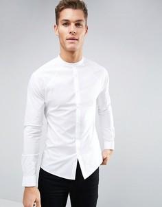 Приталенная рубашка с рукавами реглан и воротником на пуговице ASOS - Белый