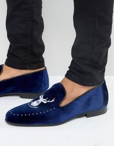 Лоферы с вышивкой Walk London Mayfair - Синий