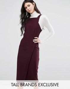 Платье с запахом и квадратной горловиной Alter Tall - Красный