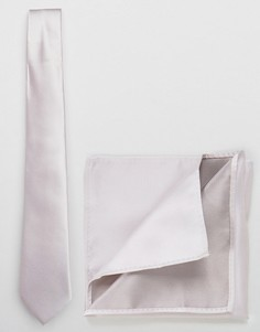 Комплект из галстука и платка для нагрудного кармана ASOS - Серый