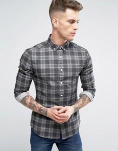 Джинсовая рубашка скинни в клетку ASOS - Черный