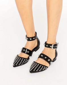 Балетки с заостренным носком и заклепками‑шипами ASOS LIBERAL - Черный