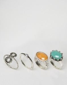 4 кольца с витой отделкой и камнями ASOS - Серебряный