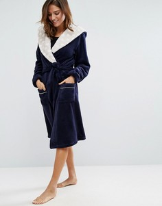 Пушистый темно-синий халат Chelsea Peers - Темно-синий