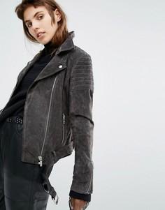 Замшевая байкерская куртка со стеганой отделкой Goosecraft - Серый