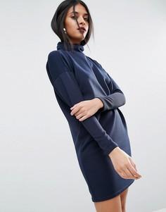 Свободное платье в рубчик с воротником поло ASOS - Темно-синий