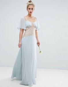Платье макси с контрастными кружевными вставками ASOS WEDDING - Синий