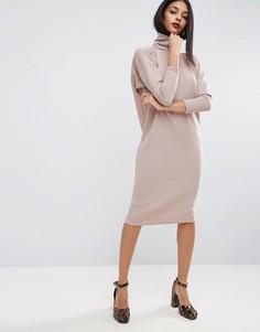 Свободное платье миди в рубчик с воротником-поло ASOS - Бежевый