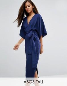 Платье миди в стиле кимоно с глубоким вырезом ASOS TALL - Мульти