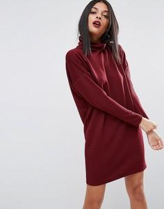 Свободное платье в рубчик с воротником поло ASOS - Красный
