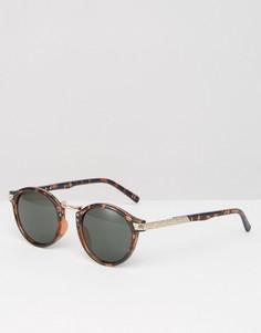 Круглые солнцезащитные очки в черепаховой оправе ASOS - Коричневый