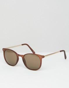 Коричневые квадратные солнцезащитные очки в металлической оправе ASOS - Коричневый
