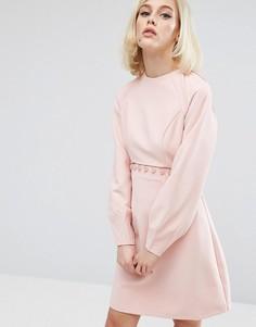 Платье с пуговицами и отделкой Lost Ink - Розовый