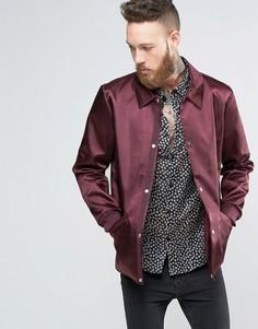 Бордовая тренерская куртка в строгом стиле ASOS - Красный