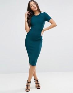 Облегающее платье миди в рубчик ASOS - Зеленый