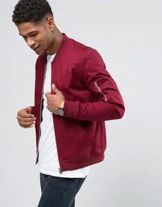Бордовая обтягивающая куртка-пилот с молнией на рукаве ASOS - Красный