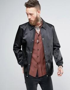 Черная тренерская куртка в строгом стиле ASOS - Черный