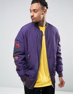 Фиолетовая куртка-пилот oversize с принтом роз ASOS - Фиолетовый