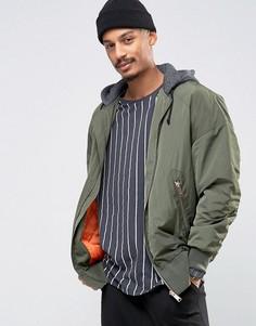 Свободная куртка-пилот цвета хаки с карманом и капюшоном ASOS MA1 - Зеленый