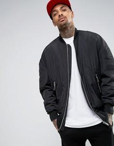 Черная куртка-пилот кроя oversize с карманами в стиле MA1 ASOS - Черный
