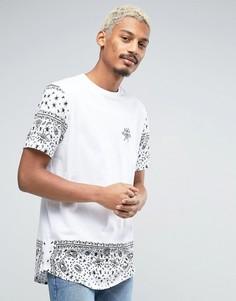 Длинная футболка с принтом пейсли на рукавах и кромке ASOS - Белый