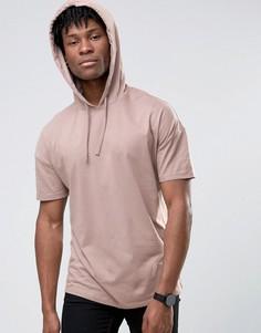 Розовая удлиненная oversize-футболка с капюшоном ASOS - Розовый
