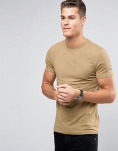 Бежевая облегающая футболка с круглым вырезом ASOS - Бежевый