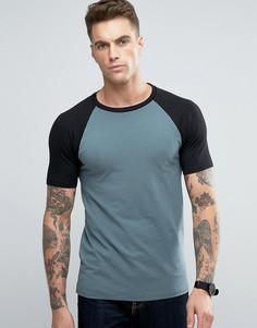 Зеленая обтягивающая футболка с контрастными черными рукавами реглан ASOS - Мульти