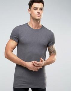 Темно-серая длинная обтягивающая футболка с закатанными рукавами ASOS - Серый