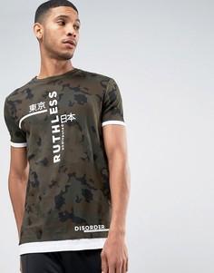 Длинная футболка с камуфляжной отделкой и вставкой на кромке ASOS - Зеленый