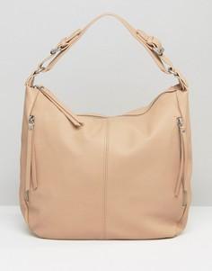 Светло-бежевая мешковатая сумка‑хобо на плечо Pieces - Бежевый