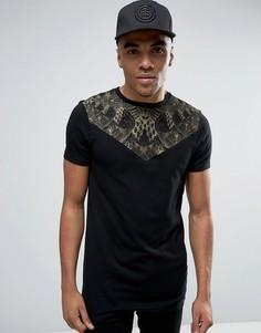 Длинная обтягивающая футболка с треугольной кокеткой и принтом ASOS - Черный