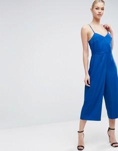 Атласный комбинезон с юбкой-брюками ASOS - Синий