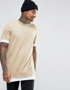 Супердлинная бежевая футболка из плотного трикотажа с контрастным низом и манжетами ASOS - Бежевый