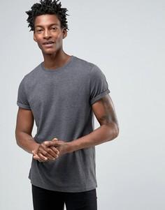 Черная меланжевая футболка с отворотами на рукавах ASOS - Черный