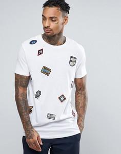 Длинная футболка с нашивками ASOS - Белый