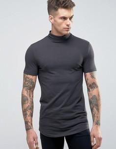 Черная обтягивающая футболка удлиненного кроя с высоким воротом и закругленной кромкой ASOS - Черный