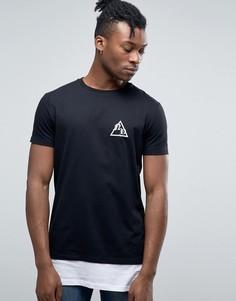 Длинная футболка с принтом New York City ASOS - Черный
