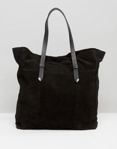 Большая замшевая сумка Pieces - Черный