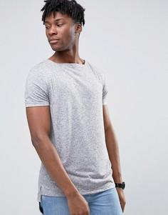 Серая длинная футболка с вырезом лодочкой и ступенчатой кромкой ASOS - Серый