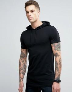 Черная длинная облегающая футболка с капюшоном ASOS - Черный