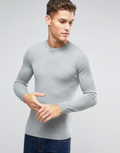 Серый облегающий хлопковый джемпер с круглым вырезом ASOS - Серый