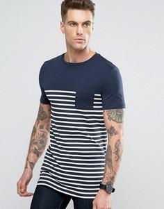 Длинная сине-белая футболка в полоску с контрастным карманом ASOS - Темно-синий