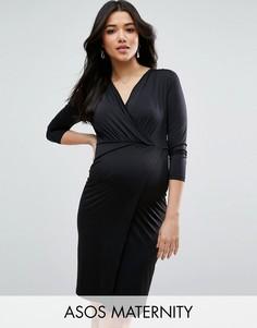 Платье мини с запахом для беременных ASOS Maternity - Черный
