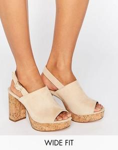 Босоножки на каблуке для широкой стопы ASOS TAMMY - Бежевый