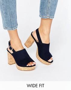 Босоножки на каблуке для широкой стопы ASOS TAMMY - Темно-синий